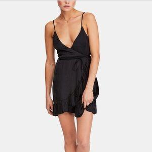 Free people black wrap around dress